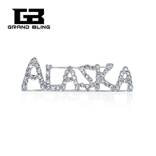 USA States Theme Gift Bling Rhinestone ALASKA State Word Pin Crystal Brooch Jewelry