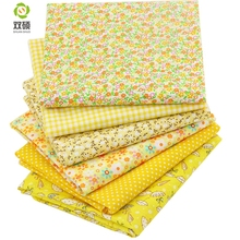 Shuanshuo Thin Cotton Fabric For Patchwork Quilting Fat Sewing Package Scrapbook Floral Pattern 6 pcs 50 x50cm