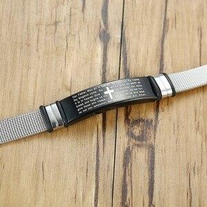 Image 3 - Bracelets en mailles pour la prière du seigneur chrétien, en acier inoxydable, de croix ajustable, couleur argent, bijoux masculins