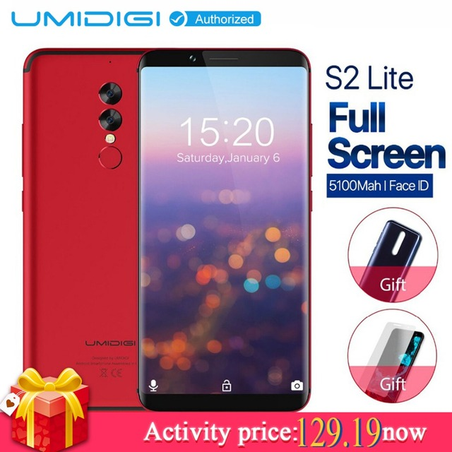 Umidigi S2 Lite 18:9 Full Screen 4GB 32GB Smartphone MT6750T Octa Core 5.99'' 5100mAh Android 7.0 16MP 4G FM Dual Sim Cell phone