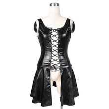 Sexy Faux Leather Short Dress Women Gothic Mini Punk Hollow Out Pleated Lace Up Black Streetwear Goth Backless PU Club Dresses navy lace hollow out short sleeves mini dresses with lace up design