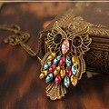Подвеска в виде совы, длинное ожерелье с цепочкой, винтажное женское ожерелье, Красочные Стразы, ювелирные изделия, подарки, Colar Collier Bijoux Femme