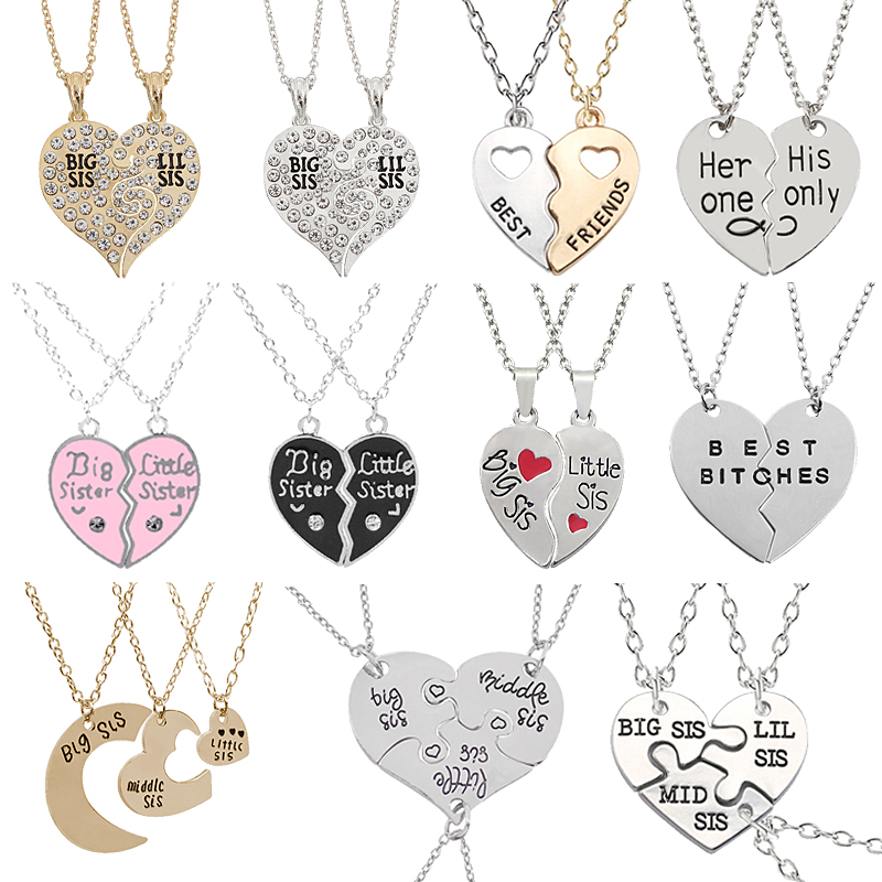 2 Or 3 Best Friend Necklace Sets For Women Friendship Stitching Letters Pendant Heart-Shaped Necklace Ladies Metal Necklace Gift