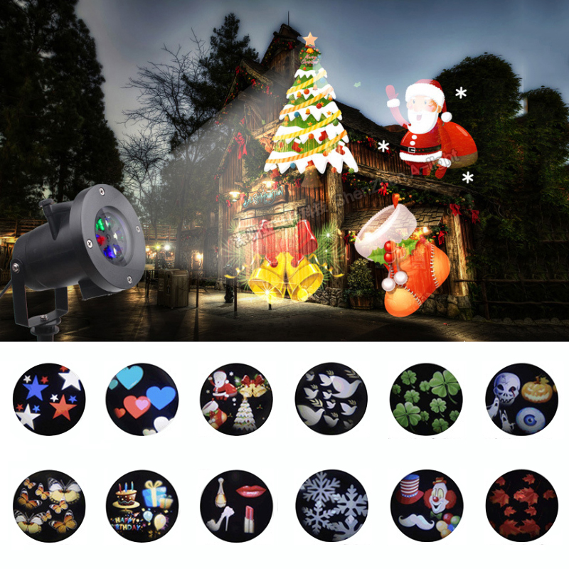 Waterproof Christmas Projector Birthday Leaf halloween projector laser christmas lights 12 slides stage lighting effect IL цена 2017