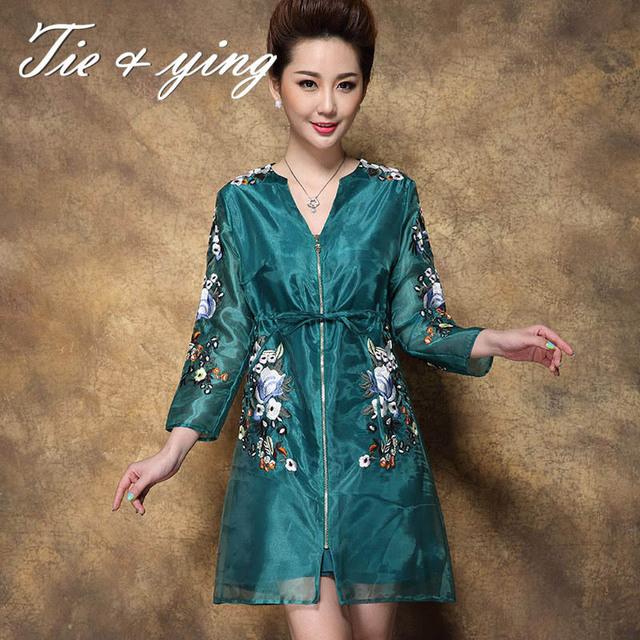2017 outono nova bordado trench coat mulheres de alta qualidade com decote em v manga três quartos floarl moda slim senhoras casaco
