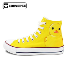 Yellow Converse All Star Rubber Duck Custom Design Hand Painted Shoes Women Men Sneakers High Top Skateboarding Shoes Boys Girls