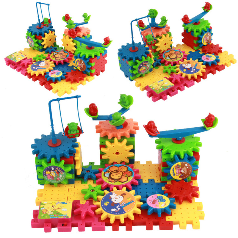 81pcs Gear Electric Building Blocks Scene Contruct Block Toy Colorful Plastic Building K ...