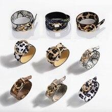 Best lady  Fashion ZA Leopard Bangle Bracelets For Women Boho Gold Color Button Vintage Leather Bracelet Christmas Punk Jewelry