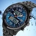 Casual Men Sports Watch 2 Fuso Horário Digital Quartz Watch Moda completa de Aço Inoxidável Relógios De Pulso LED Militar Relógios de Mergulho
