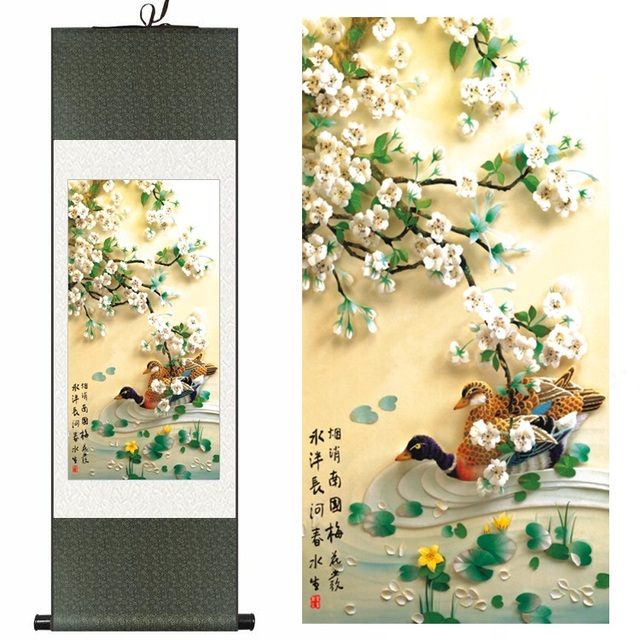 Chinese Silk ink watercolor flower birds two ducks Pear Blossom art ...