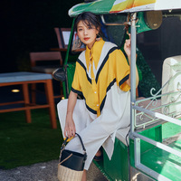 2018 Hot Sales Original Design Summer Chic Brand Yellow White Stitched S M Size Dress Big