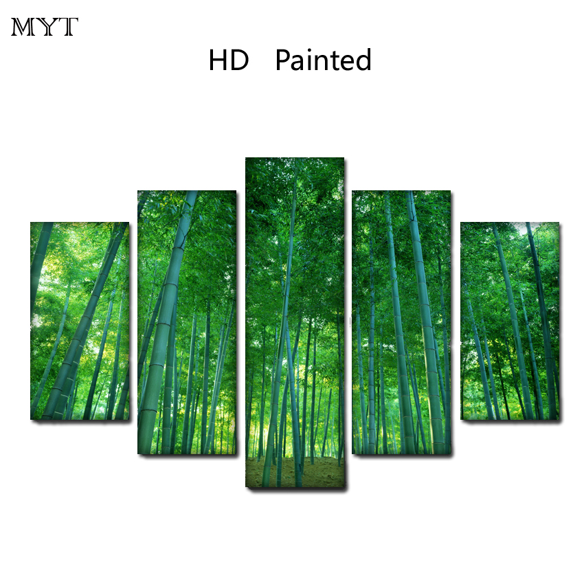 2018 Wholesale HOT sale cheap HD Printed on Canvas Print Painting Green bamboo forest Wall Art Picture For living room Home Deco