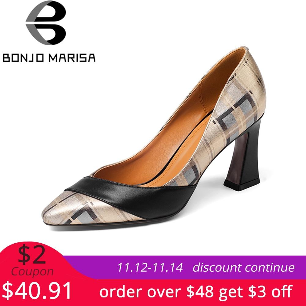 BONJOMARISA/обувь из натуральной кожи на высоком квадратном каблуке, большие размеры 33-43, женская обувь черного цвета без шнуровки, обувь для вече...