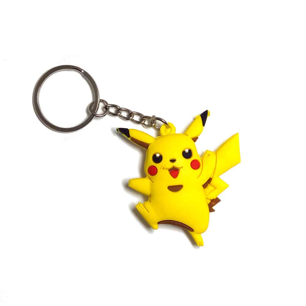 3D Hai-hai mặt keychain pokomon đi chain key ring pikachu llaveros para mujer Charmander Bulbasaur Eevee snorlax porte khóa của âm nhạc