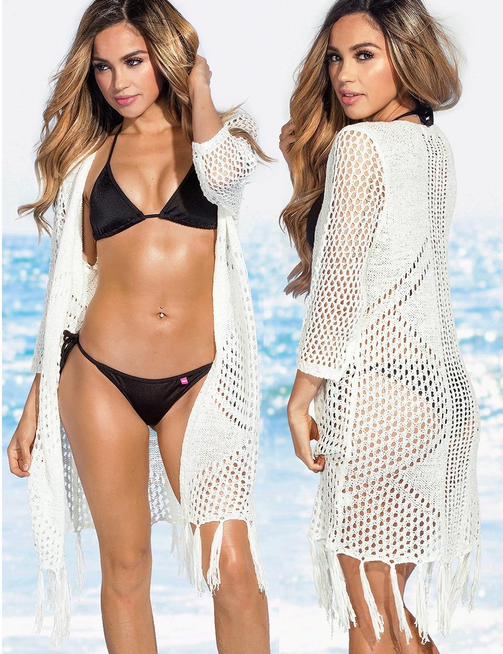 Saida De Bath Swimwear Female Kaftan Beach Dress Tunic Robe Cardigan Large Size Women Wear 2018 New Swimsuit Hollow Needle
