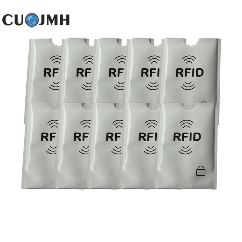 10 Pcs Rfid Card Sleeve Vertical Anti Degaussing Bank Card Holder Nfc Anti Theft Brush Identification Anti Magnetic Card Sleeve