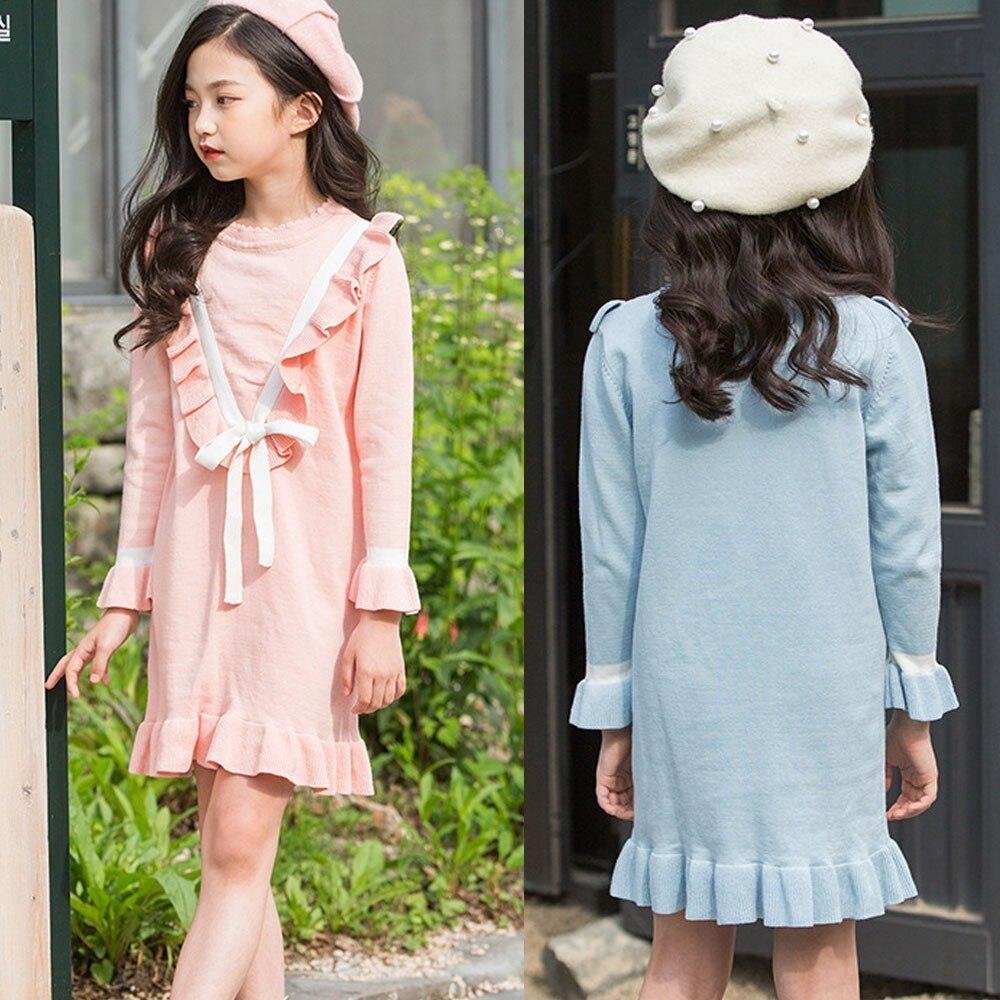 Tricot Enfant Filles De Mode Robes Volants Princesse Robe Rose Bleu Printemps Automne à manches longues Coton Grands Enfants Vêtements 2019