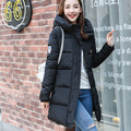 2016 Winter New Fashion Slim Long Size Stand Collar Long Sleeve Hooded Solid Color Women Down Coat