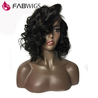 Fabwigs 250% Density Lace Front Human Hair Wigs Brazilian Remy Loose Wave Short Bob Human Hair Wigs with Baby Hair