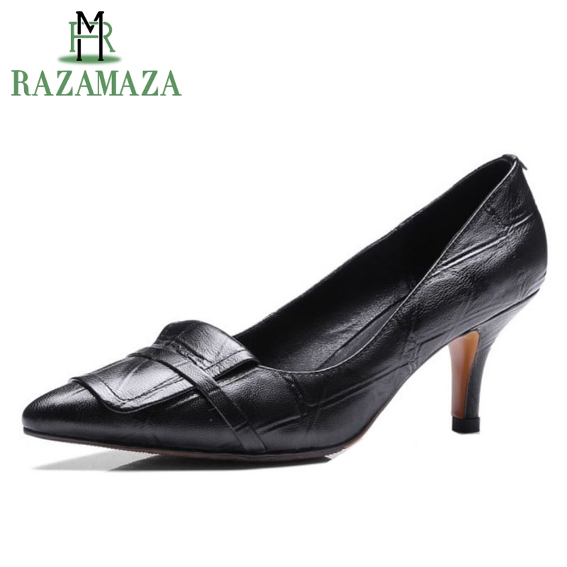 RAZAMAZA Sexy Women Real Leather High Heel Shoes Women Pattern Bownow Thin Heel Pumps Party Club Shoes Women Footwear Size 33-40 kemekiss size 32 43 sexy lady platform high heel shoes women ankle strap thick heel pumps party club office shoes women footwear