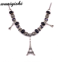 The latest beaded necklace gift simple female pendant fashion black iron tower retro ladies charm 2019 hot sale