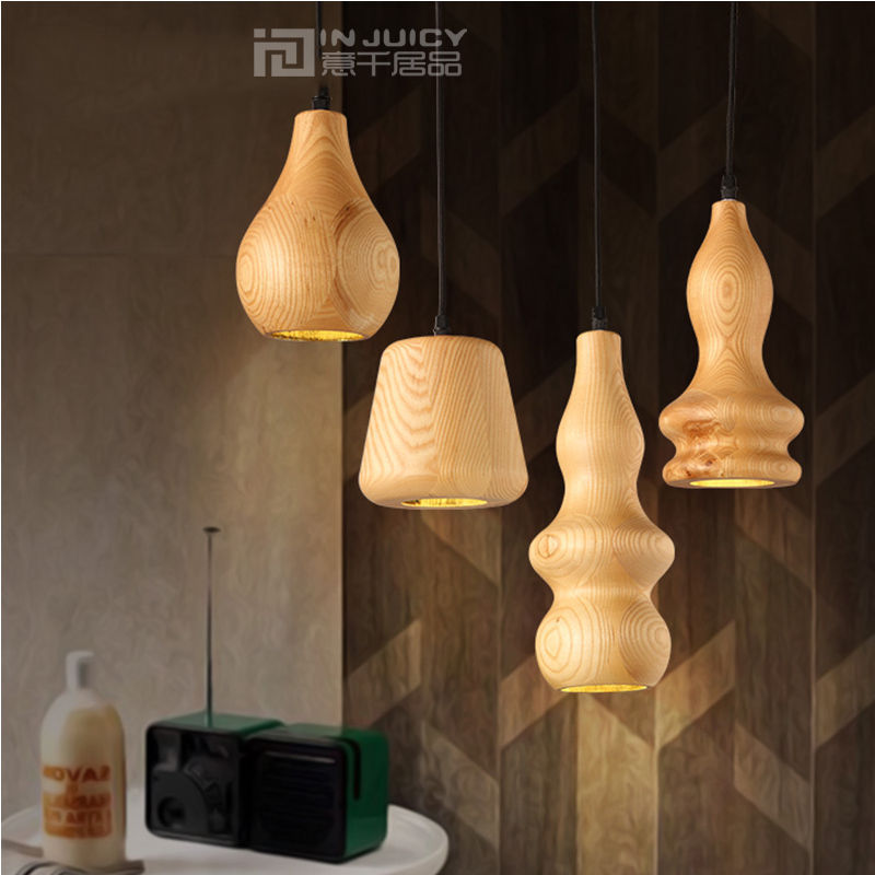 Loft Simple E27 LED Wood Cucurbit Ceiling Lamp Droplight Fixtures Chandeliers Home Bar Hall Reading Bedroom Decor Cafe Dining industrial vintage edison iron glass lotus flower cafe ceiling lamp droplight fixtures chandeliers bar led bedroom reading room