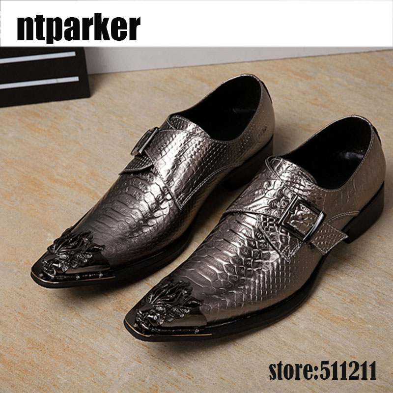 ntparker New Designer's Men Dress Shoes Genuine Leather Shoes Fashion Snakeskin Pattern Iron Pointed Toe Leather Shoes Men POP 2017 new spring imported leather men s shoes white eather shoes breathable sneaker fashion men casual shoes