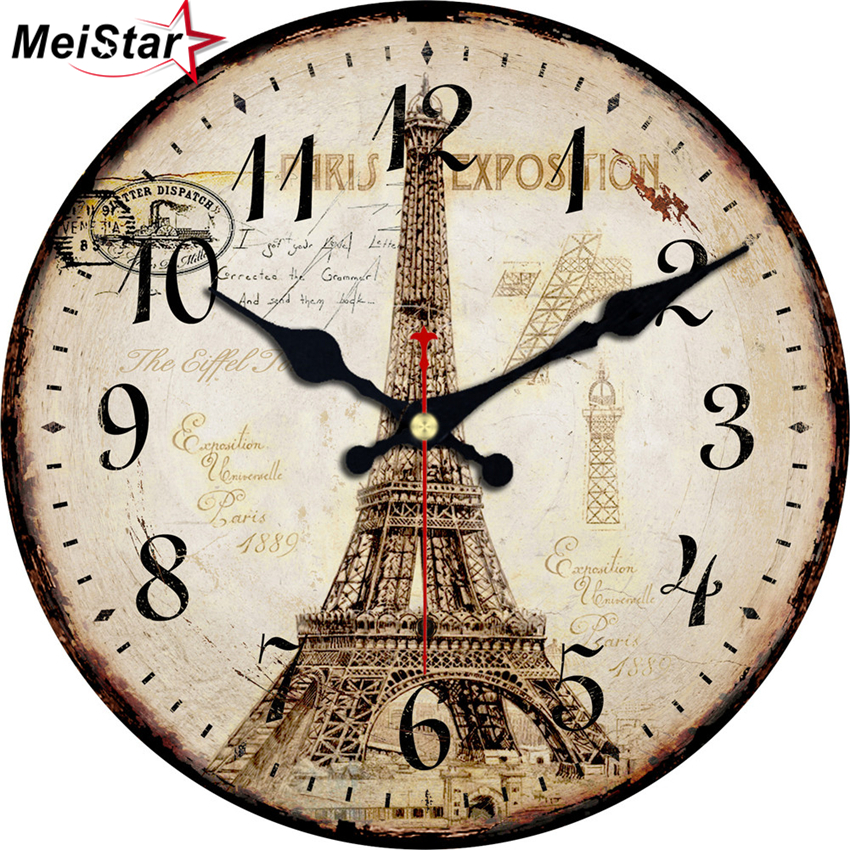MEISTAR 5 Patterns Vintage Decorative Round Tower Wall Clock Silent Durable Watches Home Decor Large Elegant Clocks