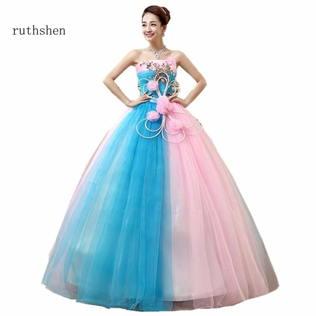 ruthshen 2018 Cheap Prom Ball Gowns Light Blue And Pink Ruched Appliques  Ball Gown Quinceanera Dresses With Strapless Style 2018 49c00b1f5709