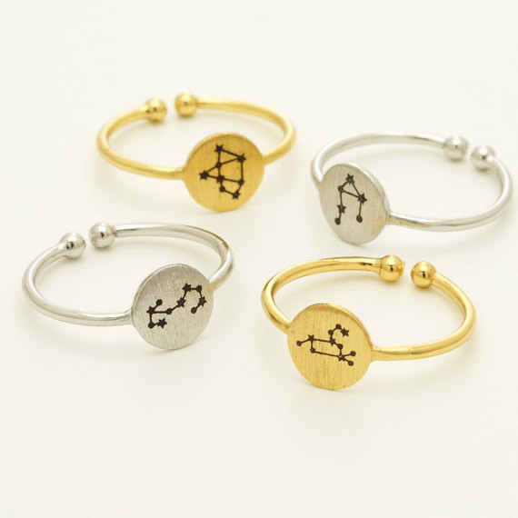 Daisies 1pc Fashion Free Size Rings Twelve Constellations Alloy Couple Finger Ring Statement Jewelry For Men Women Birthday Gift