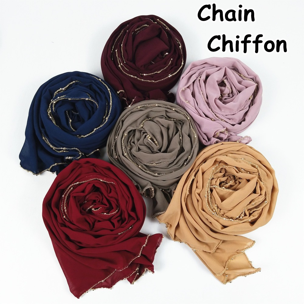 D31 Popular gold chain chiffon hijab   scarf   muslim cotton   scarves     wraps   shawls maxi fashion headband long   scarves   180*80cm