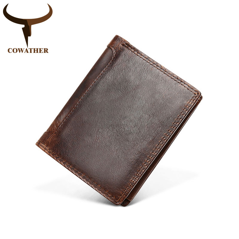 COWATHER Short Men Wallets Top Cow Genuine Crazy Horse Leather Male Purse Zipper RFID Wallet Coin Bag Q523 Free Shipping