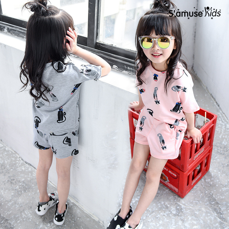 2017 Summer Baby Girls Clothes Cartoon Cats Short Sleeve T-shirt + Pants Suit Kids Sets Fashion Korean Style Children Vestidos ...