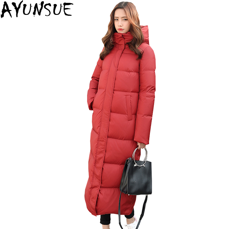 AYUNSUE New Fashion 2018 Winter 90% Duck Down Jacket Women Parkas Long Hooded Thicken Plus Size Feather Jacket Overcoat LX979