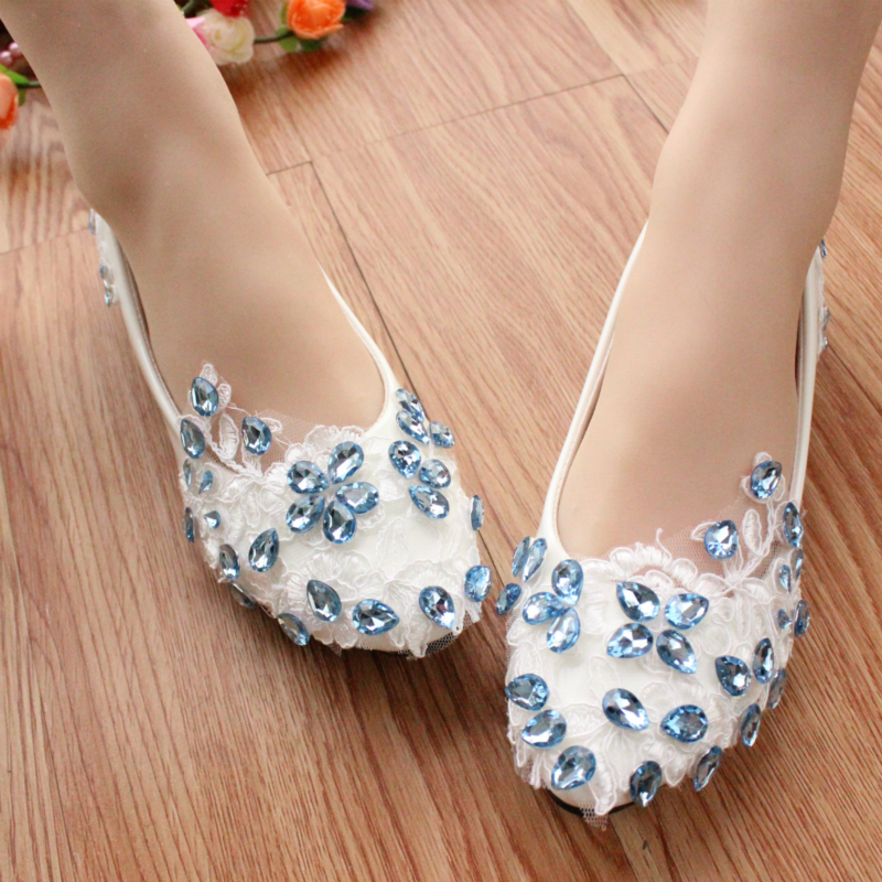 Ice blue sparkling diamond soft sole Shoes Female Low Heeled Shoes White Bridesmaid Lace Flat Wedding