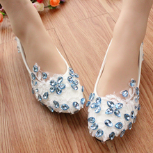 Ice blue sparkling diamond soft sole Shoes Female Low-Heeled Shoes White Bridesmaid Lace Flat Wedding Shoes Free Shipping