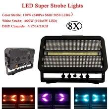 8Pcs/Lot NEW 1400W LED Super Strobe Light DMX512 Stage Flashing Disco For Christmas Holiday Wedding Party KTV
