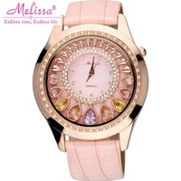 Women's Luxury Crystal Bling Rhinestone Watches Woman Quartz Water Resistant Watch Genuine Leather Strap Pink Band Lady Clock