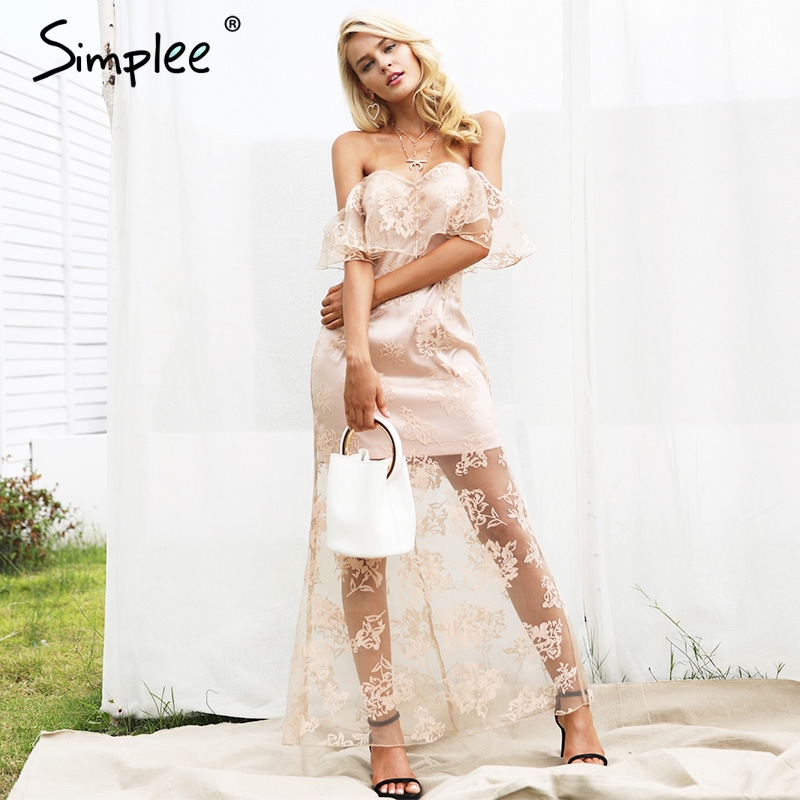 Simplee Off shoulder elegant ruffle summer dress women Lining high waist lace dress female Autumn fashion maxi party dresses