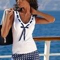 Mujeres del Estilo del verano Sexy Ladies Arco Del Todo-Fósforo con cuello en V Blanco Camiseta Sin Mangas Ocasional Tops Tees Femme Chemise