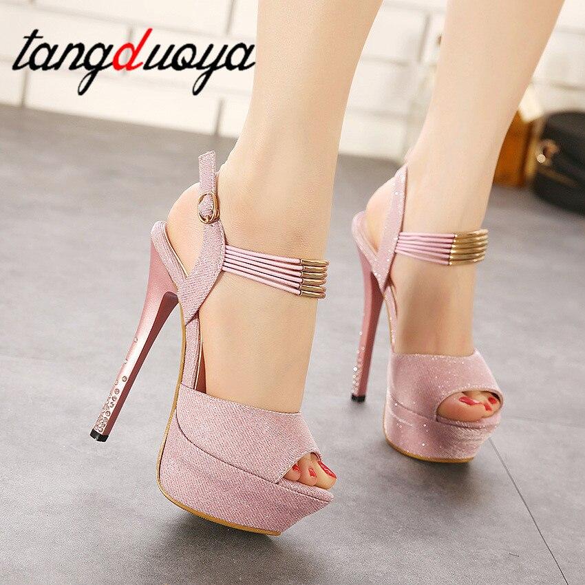 Strap High Heels Platform Women Shoes High Heel Sandals Women Pumps Peep Toes In Heels For Women Square Heels Tacones Plataforma