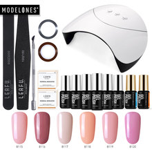 Modelones 36W Smart Sensor UV Lamp Nail Cure Machine Manicure Tools Kit 6 Colors Semi Permanent Led Hybrid Gel Varnish Nail Set(China)