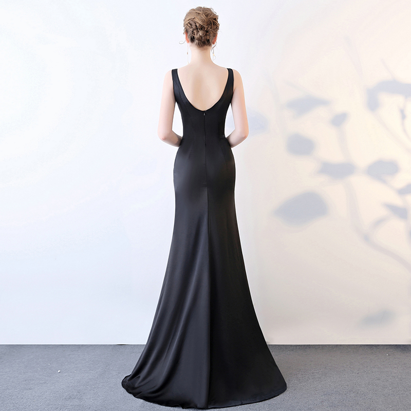 Spring New Women Sexy Deep V Neck Bridesmaid Mermaid Long Dresses High Slit Slim Fit Banquet Elegant Ladies Formal Party Dress 2016 the new bridesmaid dresses bridesmaid dresses long grey spring evening dress female sisters dress party conference