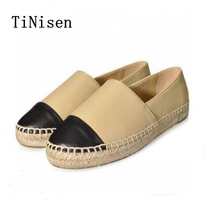 creepers women genuine leather shoes women flats shoes women shoes 2018 spring high quality Sheepskin Shallow Round Toe 34-42