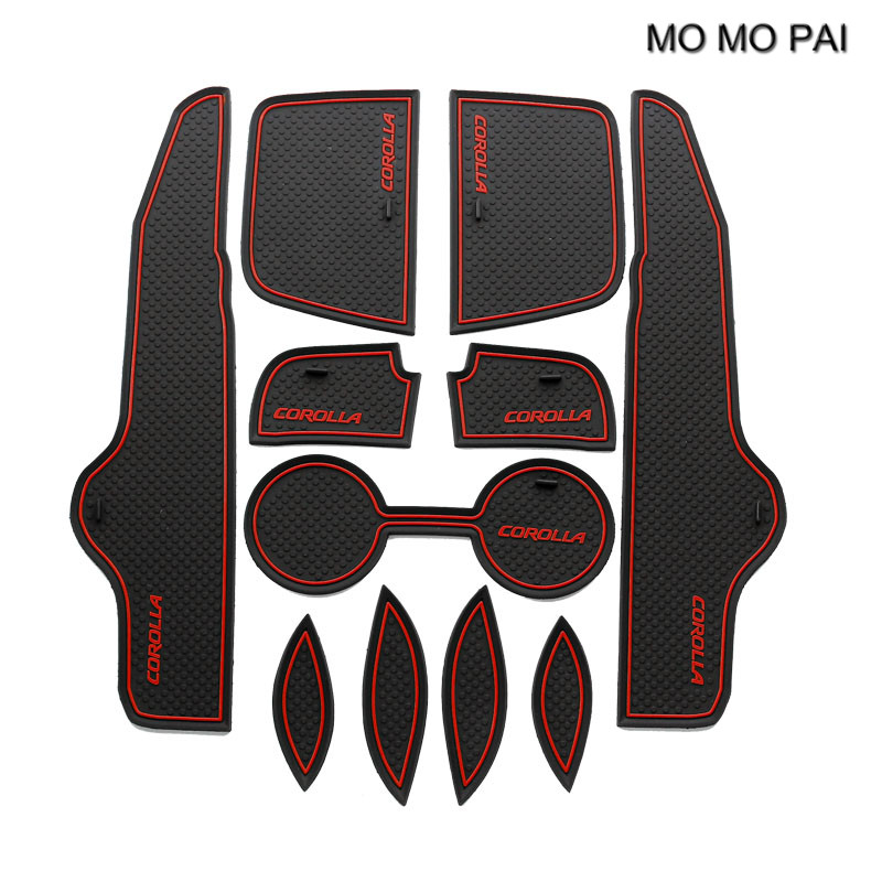 MOMO PAI Car Accessories Door Slot fit for Toyota Corolla 2009 2010 2011 2012 2013 Non-Slip Door Pad Slot Door Slot Mat Red