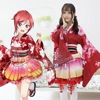 MILLYN Love live Maki cosplay costume lovelive dress adult Printed Kimono women Halloween Carnival Party dresses YUKATA Series