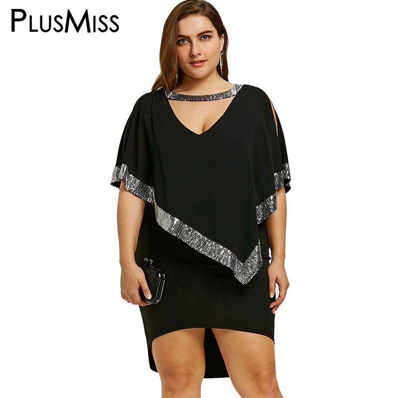 PlusMiss Plus Size 5XL Sexy Sequin Capelet Dress Bodycon V Neck Elegant Evening Formal Party Dress Women Clothing Large Size