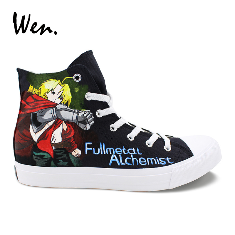 Wen Hand Painted Shoes Fullmetal Alchemist Anime Designers Sneakers Women High Top Men Vulcanize Shoes Canvas Plimsolls Trainers wen design anime hand painted shoes soul eater death the kid canvas shoes boys girls vulcanize sneakers high top white plimsolls