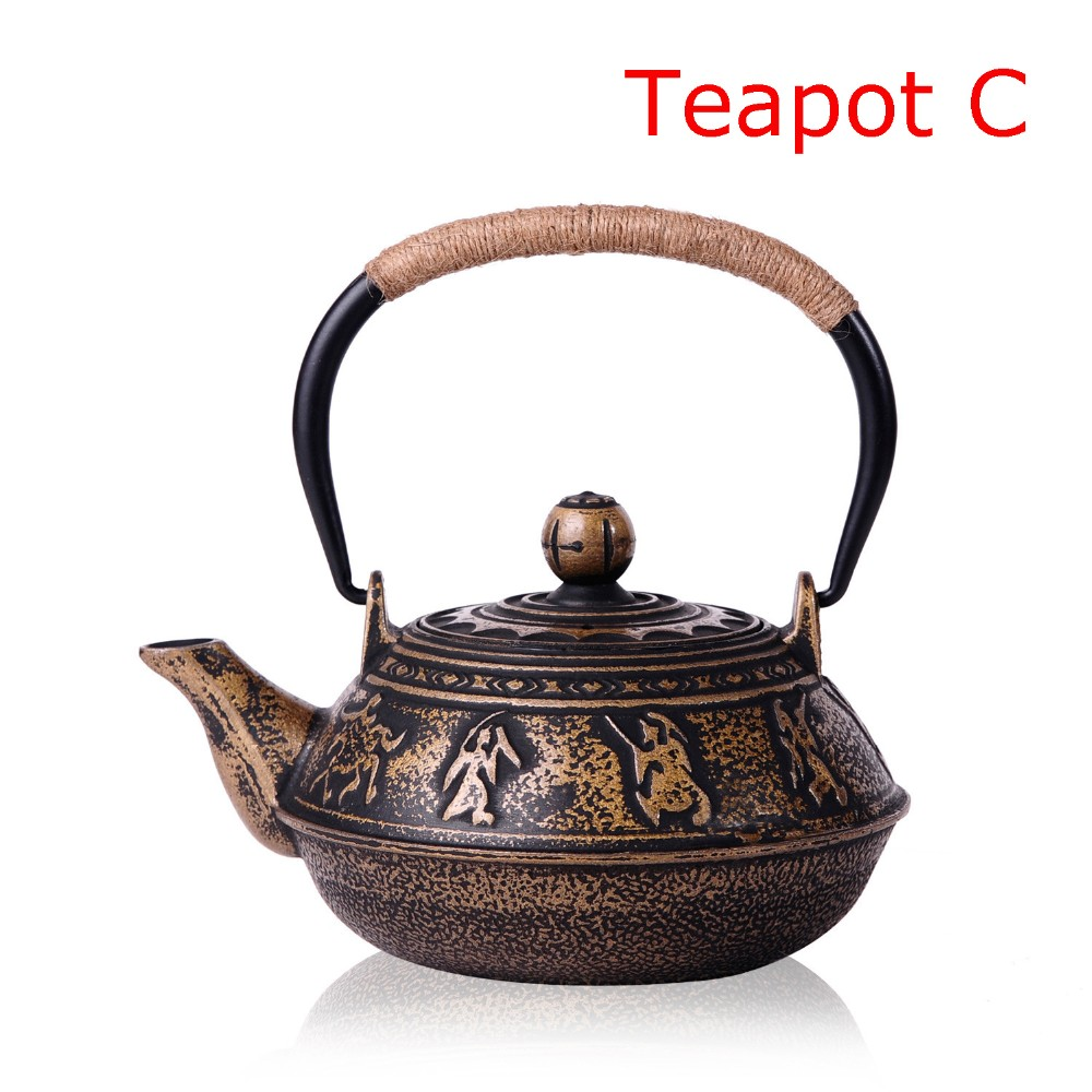 New 7 Chioces Cast Iron Teapot Set Japanese Tea Pot Tetsubin Kettle Enamel 900ml Kung Fu Infusers Metal Net Filter Cooking Tools 10