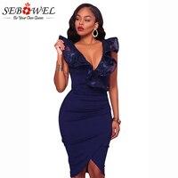 SEBOWEL 2018 Sexy Sleeveless Party Dress Women Lace Deep V Ruffle Bodycon Midi Dresses Knee Length